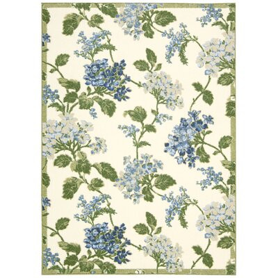 Aura of Flora Rolling Meadow Cream Area Rug