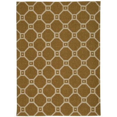 Color Motion Ferris Wheel Gold Area Rug Rug Size: 5 x 7