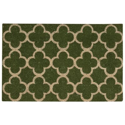 Greetings Geometric Doormat Color: Green