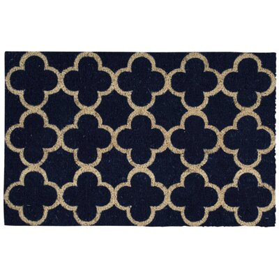 Greetings Geometric Doormat Color: Navy