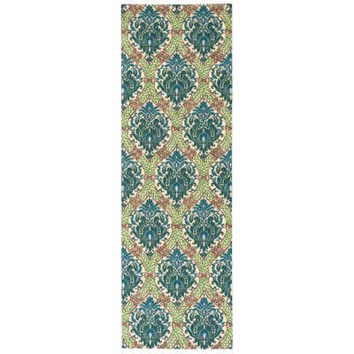Treasures Dress Up Damask Blue Jay Area Rug Rug Size: Runner 26 x 8
