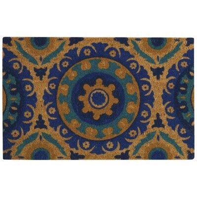 Greetings Solar Flair Doormat Rug Size: 16 X 24, Color: Aqua