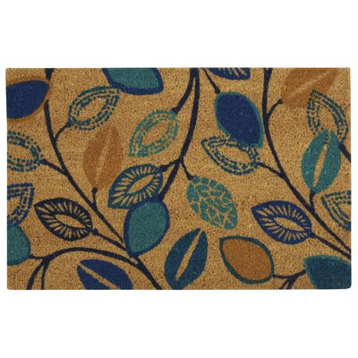 Greetings Leaflet Doormat Rug Size: Rectangle 16 X 24, Color: Aqua