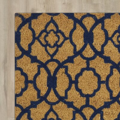 Greetings Lovely Lattice Doormat Mat Size: Rectangle 2 X 3, Color: Navy