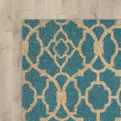 Greetings Lovely Lattice Doormat Mat Size: Rectangle 16 X 24, Color: Teal