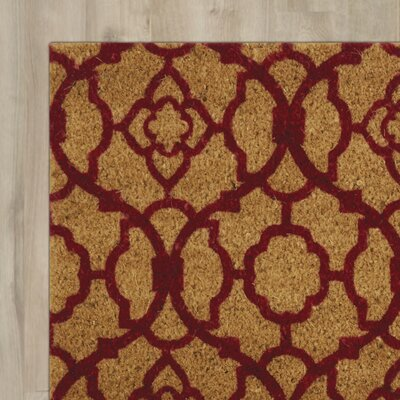 Greetings Lovely Lattice Doormat Rug Size: 16 X 24, Color: Red