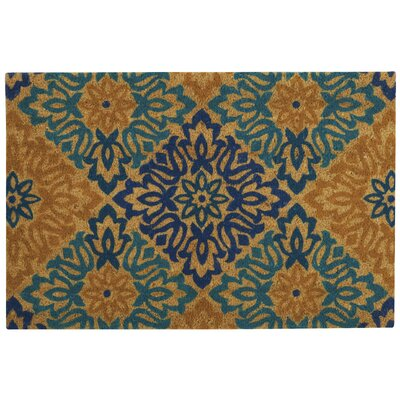 Greetings Sweet Things Doormat Rug Size: 2 X 3, Color: Aqua