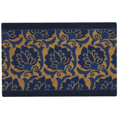 Greetings Playful Prose Doormat Rug Size: 2 X 3, Color: Navy