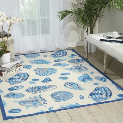 Sun n Shade Ivory Indoor/Outdoor Area Rug Rug Size: 53 x 75