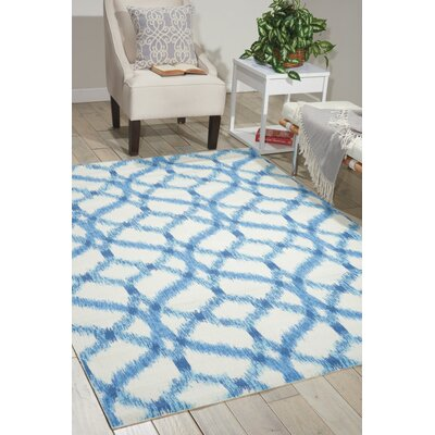 Stewart Indoor/Outdoor Blue/Ivory Area Rug Rug Size: Rectangle 53 x 75
