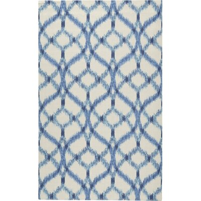 Stewart Indoor/Outdoor Blue/Ivory Area Rug Rug Size: 23 x 39