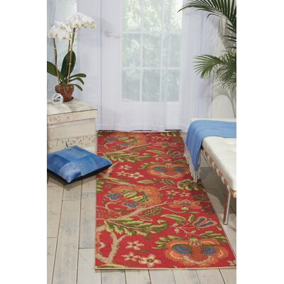 Global Awakening Imperial Dress Garnet Area Rug Rug Size: Runner 26 x 8