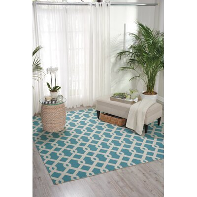 Sun n Shade Blue/White Indoor/Outdoor Area Rug Rug Size: Square 79 x 79