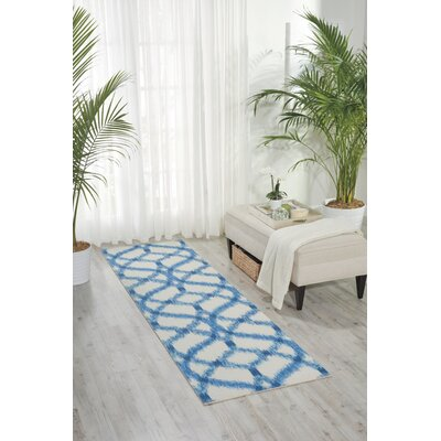 Stewart Indoor/Outdoor Blue/Ivory Area Rug Rug Size: Runner 23 x 8