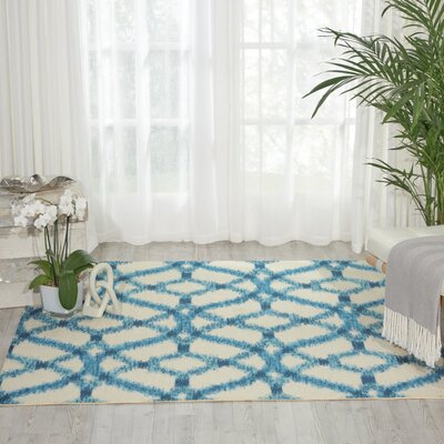 Sun n Shade Indoor/Outdoor Blue Area Rug Rug Size: 53 x 53