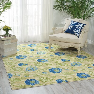 Aura of Flora Refresh Blue/Green/Beige Area Rug Rug Size: 79 x 99