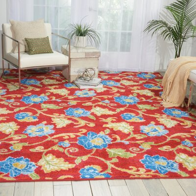 Aura of Flora Refresh Red Area Rug Rug Size: 79 x 99