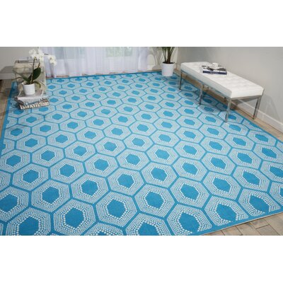 Sun n Shade Bubbly Blue Indoor/Outdoor Area Rug Rug Size: Rectangle 53 x 75