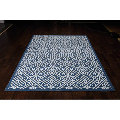 Sun n Shade Lace It Up Navy Indoor/Outdoor Area Rug Rug Size: 53 x 75