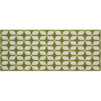 Fancy Free & Easy Unparalleled Green/Ivory Area Rug Rug Size: Rectangle 110 x 46