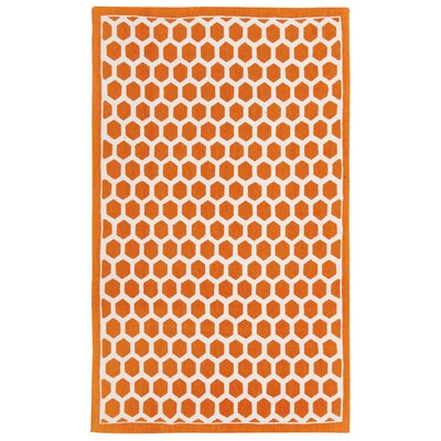 Art House Symmetry Orange Area Rug Rug Size: 23 x 39