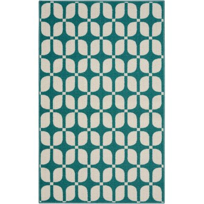 Fancy Free & Easy Aqua Area Rug Rug Size: Rectangle 26 x 4