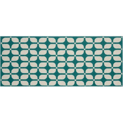 Fancy Free & Easy Aqua Area Rug Rug Size: 110 x 46