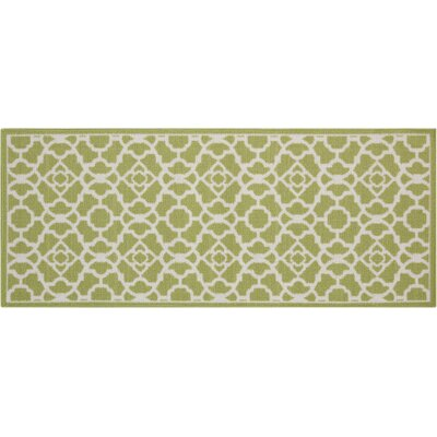 Fancy Free & Easy Lovely Lattice Green Area Rug Rug Size: 110 x 46