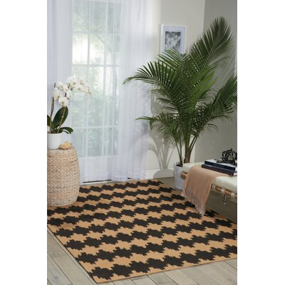 Color Motion Brushworks Black/Brown Area Rug Rug Size: 23 x 39