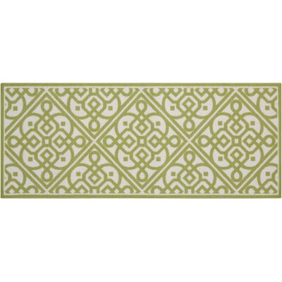 Fancy Free & Easy Lace It Up Celery Area Rug Rug Size: 110 x 46