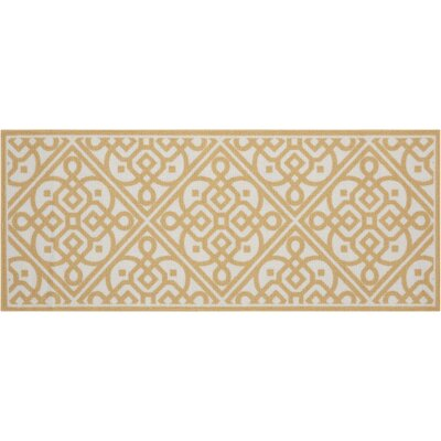 Fancy Free & Easy Lace It Up Gold Area Rug Rug Size: 26 x 4
