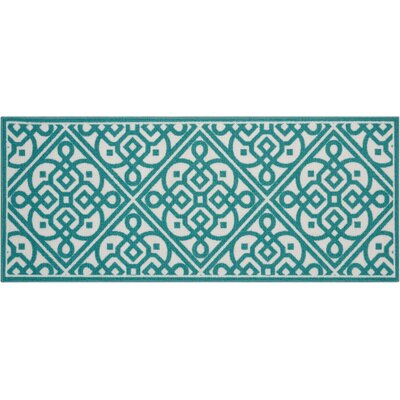 Fancy Free & Easy Lace It Up Teal Area Rug Rug Size: Rectangle 110 x 46