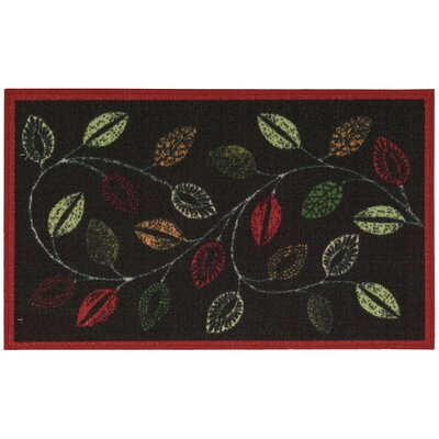 Fancy Free & Easy Leaflet Charcoal Accent Rug Rug Size: Rectangle 26 x 4