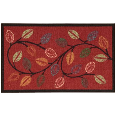 Fancy Free & Easy Leaflet Red Area Rug Rug Size: Rectangle 26 x 4