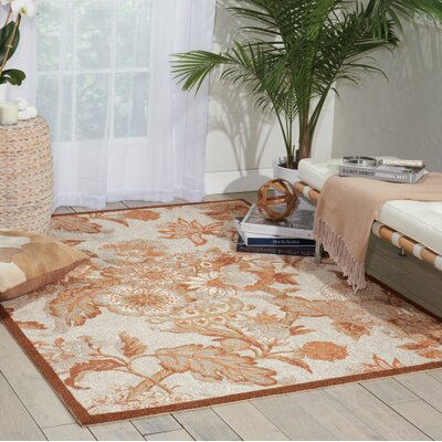 Treasures Graceful Garden Brown Area Rug Rug Size: 16 x 26