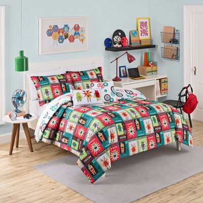 Robotic 3 Piece Reversible Comforter Set Size: Twin