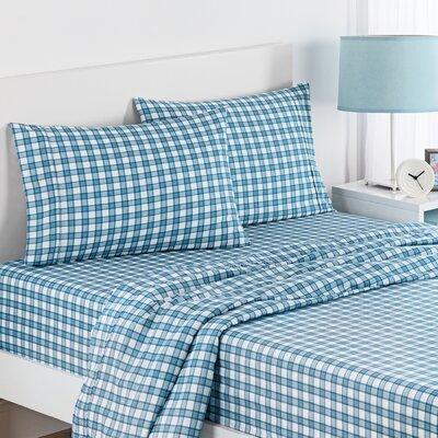 Norfolk Plaid Polyester Sheet Set Color: Blue, Size: Full