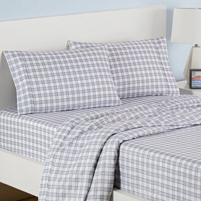 Norfolk Plaid Polyester Sheet Set Color: Light Gray, Size: Twin