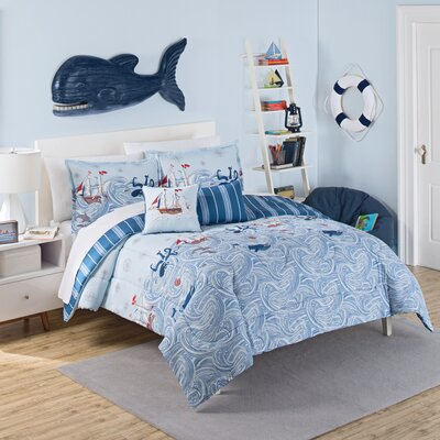 Ride The Waves 3 Piece Reversible Comforter Set Size: Twin