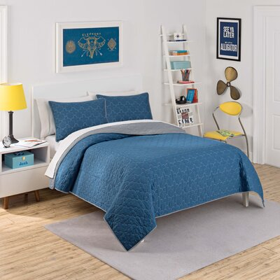 Framework 3 Piece Reversible Quilt Set Size: Twin, Color: Indigo