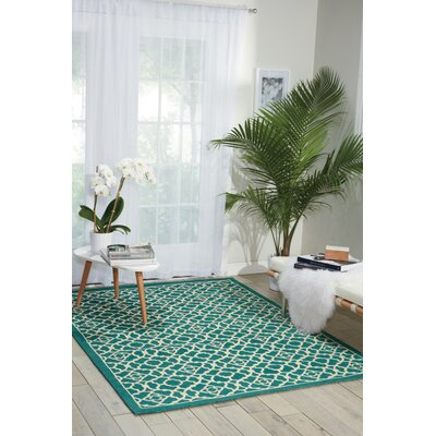 Color Motion Lovely Lattice Teal Rug Rug Size: 5 x 7