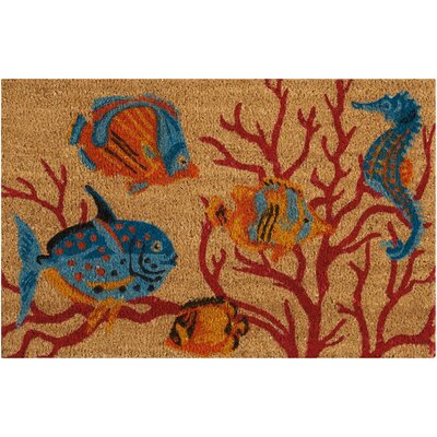 Greetings Swimming Fish Beige Doormat Mat Size: Rectangle 16 x 24