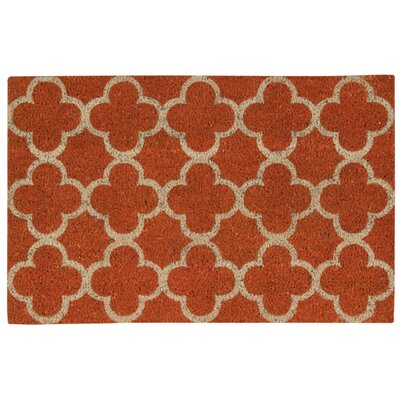 Greetings Geometric Doormat Rug Size: Rectangle 16 x 24, Color: Orange