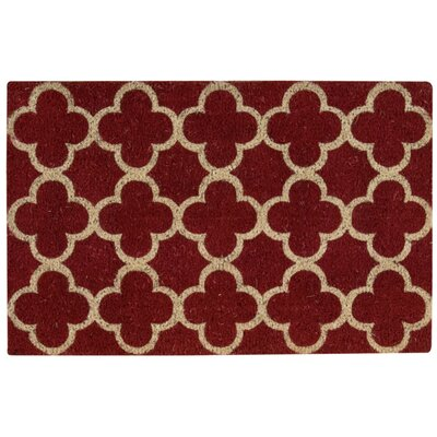Greetings Geometric Doormat Rug Size: 16 x 24, Color: Red