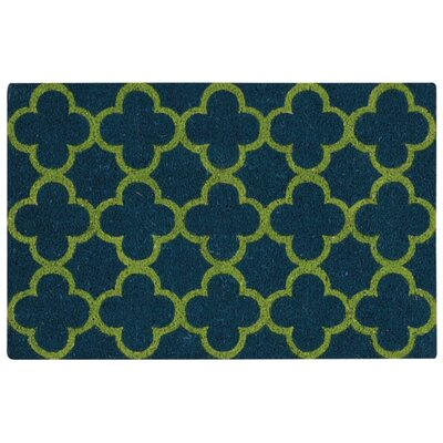 Greetings Geometric Doormat Rug Size: 16 x 24, Color: Teal
