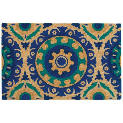 Greetings Solar Flair Doormat Rug Size: 16 X 24, Color: Aqua