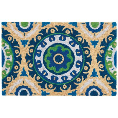 Greetings Solar Flair Doormat Rug Size: 2 X 3, Color: Navy