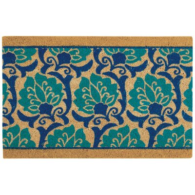 Greetings Playful Prose Doormat Mat Size: Rectangle 16 X 24, Color: Aqua