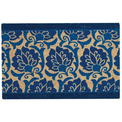 Greetings Playful Prose Doormat Mat Size: Rectangle 2 X 3, Color: Navy