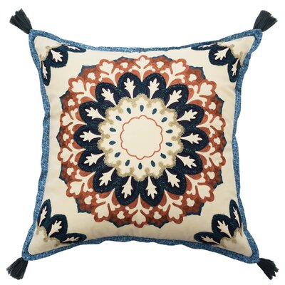 Castleford Embroidered 100% Cotton Throw Pillow